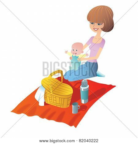 Mother With Baby On A Picnic