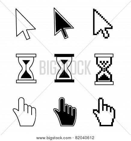 Vector illustration hand cursor hourglass