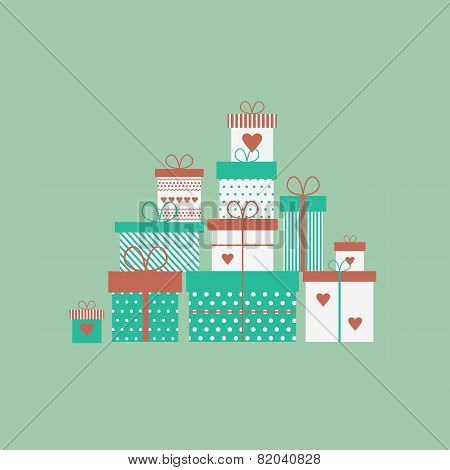Card With Gift Boxes. Vector Illustration