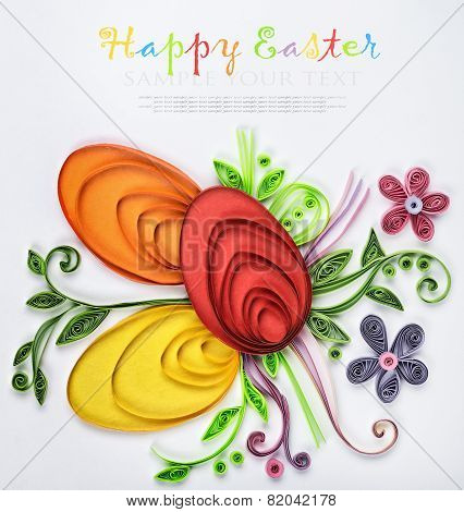 Crafts With Their Hands Of Quilling On A Holiday Theme Happy Easter. Focus On The Eggs