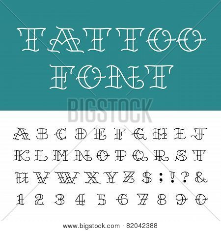 Alphabet - Tattoo Vector Font.