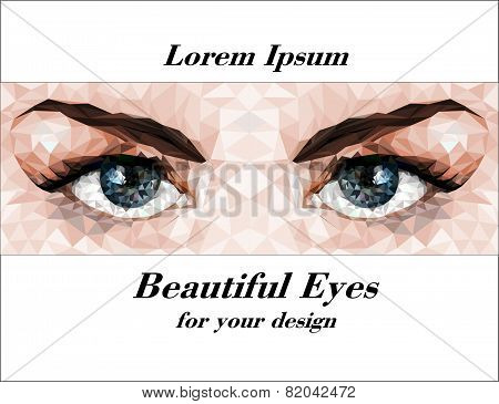 Beautiful Eyes Made Of Polygons. Vector Image.