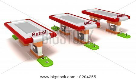 Three red filling stations isolated on white