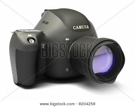 Câmera SLR preto isolada no branco. Meu próprio projeto, sem marcas.