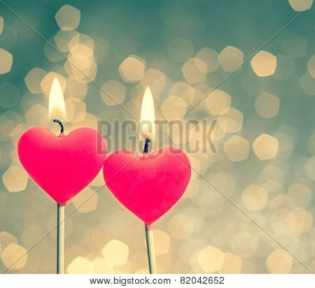 Hearts Candles On Vintage Bokeh As Background Vintage Style