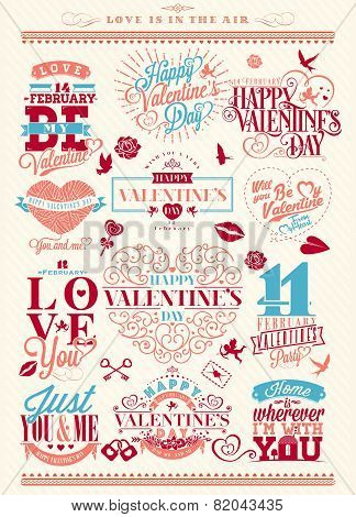 Set Of Happy Valentine's Day Hand Lettering - Typographical Background With Ornaments, Hearts, Ribbo