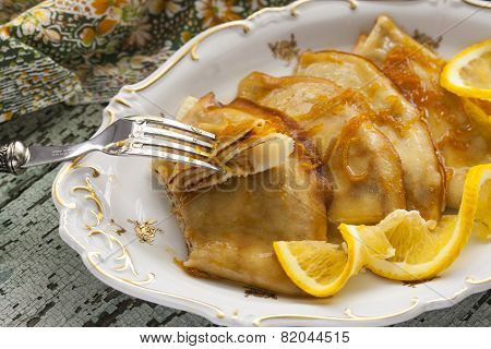 Pancake Crepe Suzette With Orange Sauce