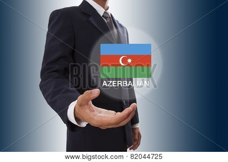 Businessman hand showing Azerbaijan Flag