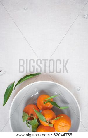 Tangerines On White Wooden Background. Great For Book Cover