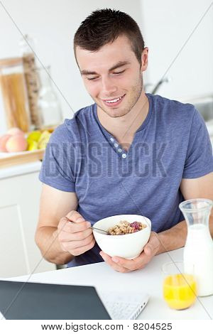 Happy Man Having Breakfast