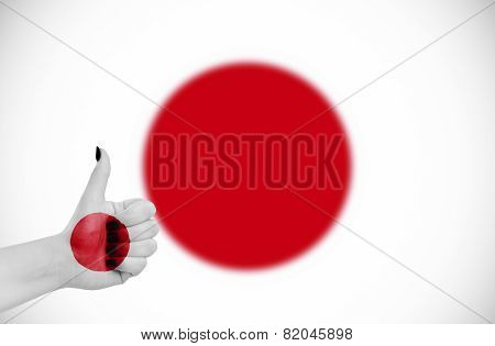 Flag Of Japan On Hand