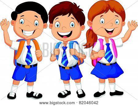 Happy school kids cartoon waving hand