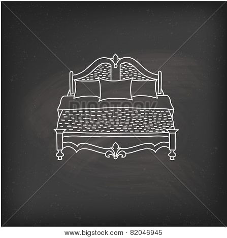Vector bed icon doodle