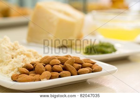 Food Ingredients With Almond In The Focus In The Foreground