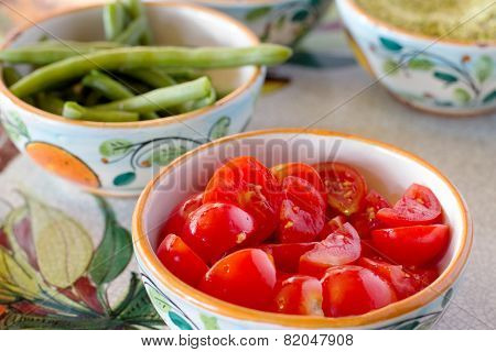 Mediterranean Ingredients Over Ceramic Decorated Bowl