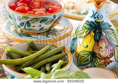 Mediterranean Food Ingredients With Decorated Oil Bottle