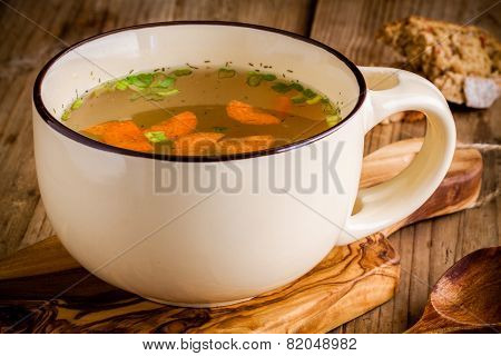 Cup With Vegetable Soup Closeup
