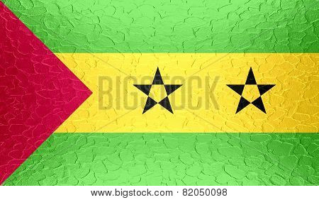Sao Tome and Principe flag on metallic metal texture