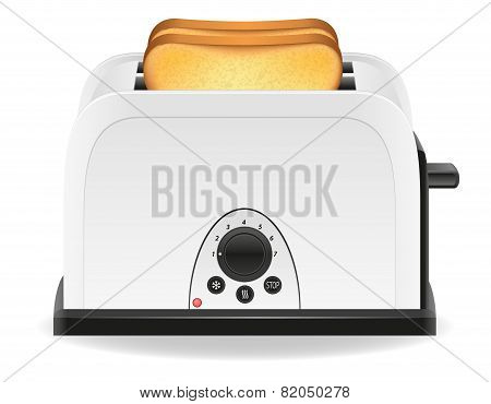 Toast In A Toaster Vector Illustration