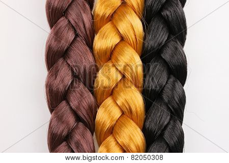 Brown,blonde and black hair braid