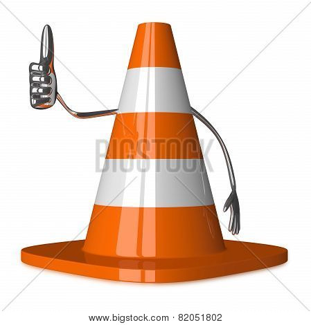Traffic Cone Character Giving Thumb Up