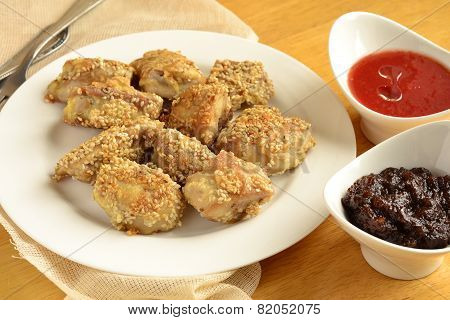 Fried chicken in sesame
