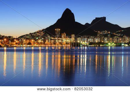 Sunset Night Lagoon Rodrigo De Freitas (lagoa), Mountain, Rio De Janeiro, Brazil