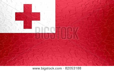 Tonga flag on metallic metal texture