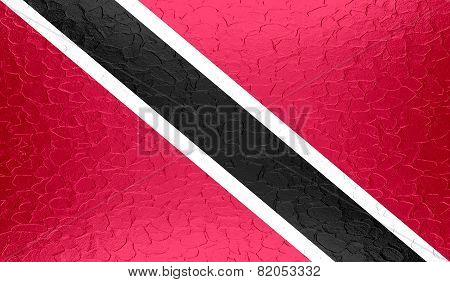 Trinidad and Tobago flag on metallic metal texture
