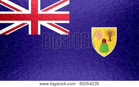 Turks and Caicos Islands flag on metallic metal texture