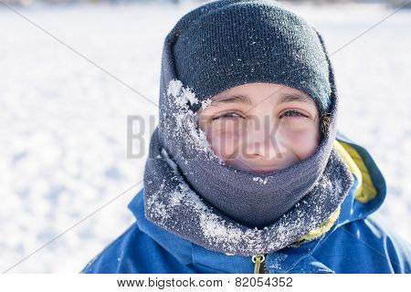 Facial Close Up Of Child In The Winter Snow