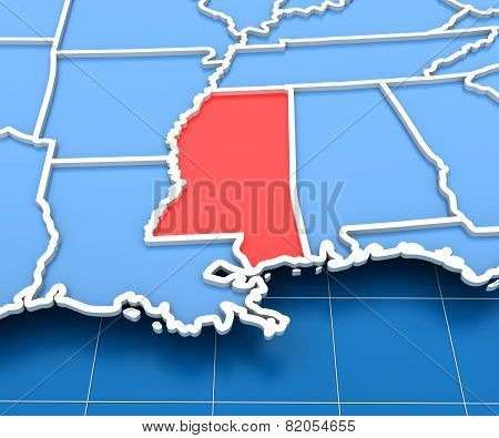 3d render of USA map with Mississippi state highlighted