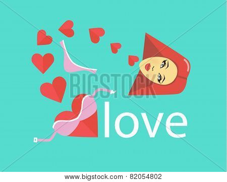 Harts, Girl, String, Lifchik, And Love. Flat Style Illustration Or Icon. Eps 10 Vector.