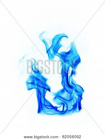 Blue Fire Flames On White Background