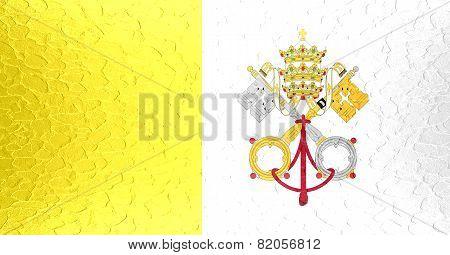 Vatican City - Holy See flag on metallic metal texture