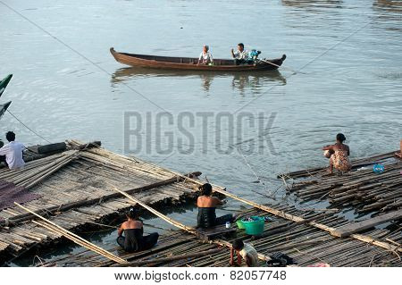 Daily life at Port activities on Ayeyarwady river, Myanmar.