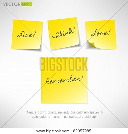 Yellow note sticker with message. Paper reminder. Vector illustration