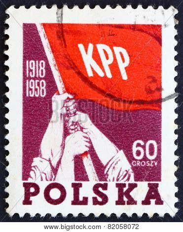 Postage Stamp Poland 1958 Red Flag