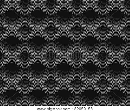 Repeating Ornament Horizontal Wavy Lines On Gray