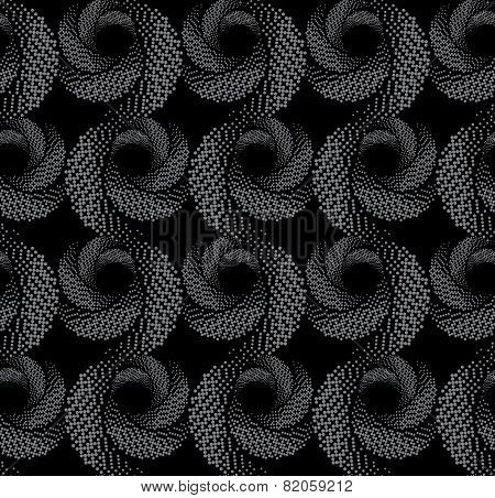 Repeating Ornament Of  Textured Circles On Dark Gray