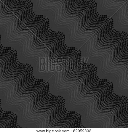 Repeating Ornament Of Dotted Wavy Texture With Monochrome Transaction