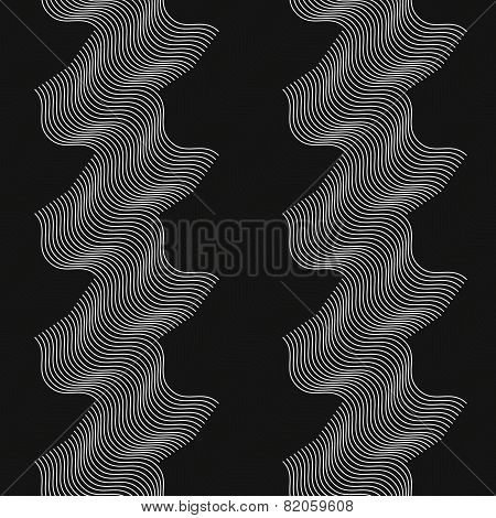 Repeating Ornament Vertical White And Black Waves