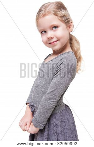 Beautiful Little Girl With Blond Hair Isolated