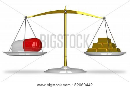 Pill And Gold Bars On Scales