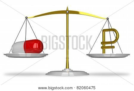 Pill And Rouble Sign On Scales