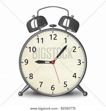 Metallic Alarm Clock Isolated