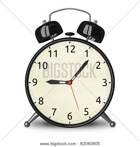 Black Alarm Clock Isolated
