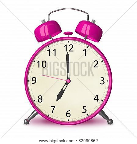 Pink Alarm Clock Isolated