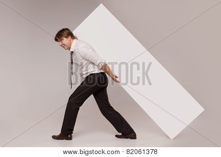 Businessman with blank copy space banner