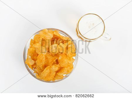 Potato Chips With Beer Glass